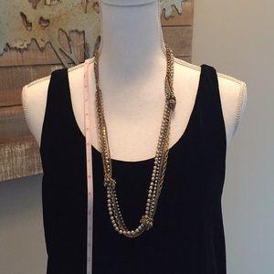 Elegant 4 strand beaded necklace with rhinestone